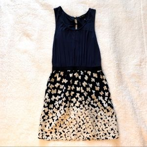 Jessica Simpson Navy Blue Butterfly Print Dress S